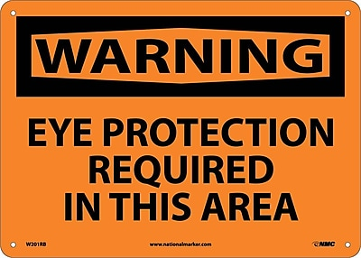 Warning, Eye Protection Required In This Area, 10X14, Rigid Plastic