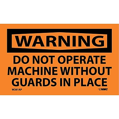 Warning, Do Not Operate Machine Without Guards In Place, 3X5, Adhesive Vinyl, 5/Pk