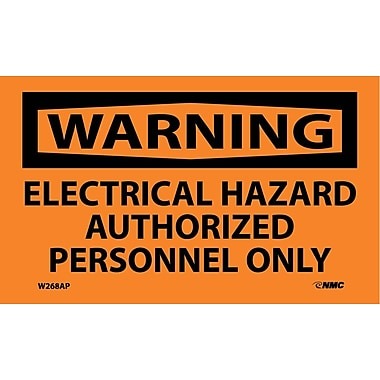 Warning, Electrical Hazard Authorized Personnel Only, 3