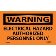 Warning, Electrical Hazard Authorized Personnel Only, 3X5, Adhesive Vinyl, 5/Pk