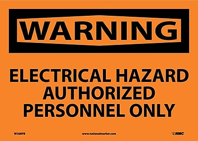 Warning, Electrical Hazard Authorized Personnel Only, 10X14, Adhesive Vinyl