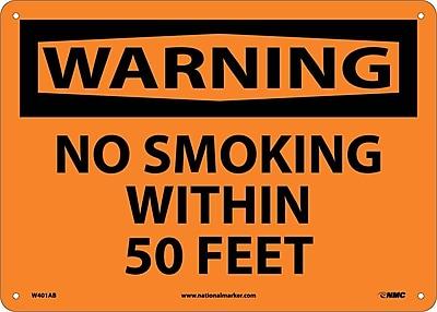 Warning, No Smoking Within 50 Feet, 10X14, .040 Aluminum