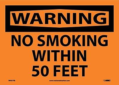 Warning, No Smoking Within 50 Feet, 10X14, Adhesive Vinyl