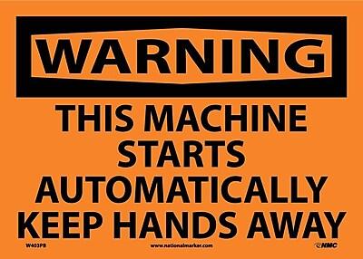 Warning, This Machine Starts Automatically.., 10X14, Adhesive Vinyl