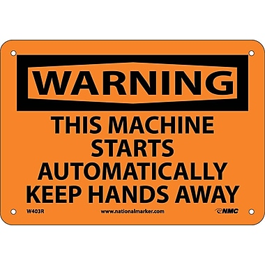 Warning, This Machine Starts Automatically Keep, 7X10, Rigid Plastic