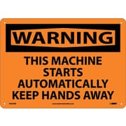 Warning, This Machine Starts Automatically Keep Hands Away, 10X14, Rigid Plastic