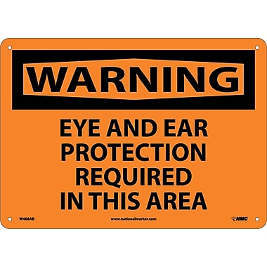 Warning, Eye And Ear Protection Required In This Area, 10X14, .040 Aluminum