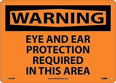 Warning, Eye And Ear Protection Required In This Area, 10X14, Rigid Plastic