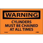 Warning, Cylinders Must Be Chained At All Times, 3X5, Adhesive Vinyl, 5/Pk