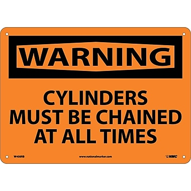 Warning, Cylinders Must Be Chained At All Times, 10X14, Rigid Plastic