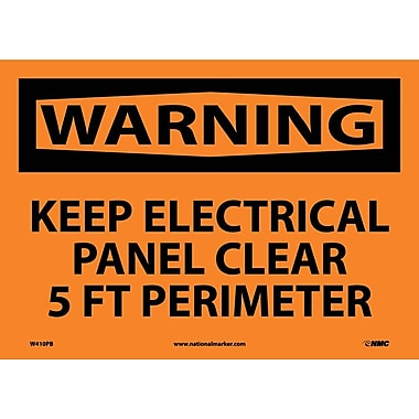 Warning, Keep Electrical Panel Clear 5 Ft Perimeter, 10X14, Adhesive Vinyl