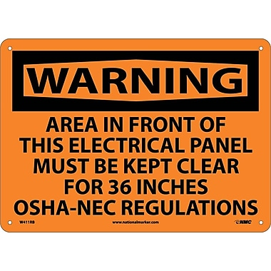 Warning, Area In Front Of This Electrical Panel Must Be Kept Clear for 36 Inches Osha-Nec Regulations, 10