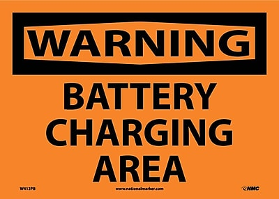 Warning, Battery Charging Area, 10X14, Adhesive Vinyl