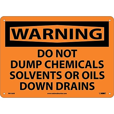 Warning, Do Not Dump Chemicals Solvents Or Oils Down Drains, 10X14, .040 Aluminum