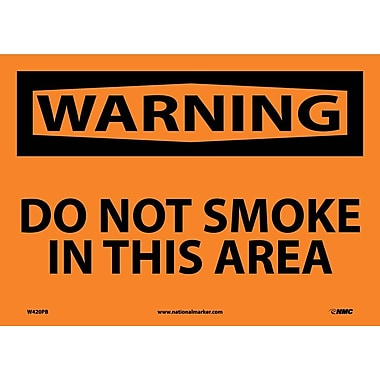 Warning, Do Not Smoke In This Area, 10X14, Adhesive Vinyl