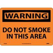 Warning, Do Not Smoke In This Area, 10X14, Rigid Plastic
