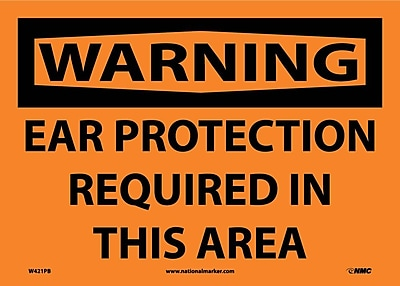 Warning, Ear Protection Required In This Area, 10X14, Adhesive Vinyl