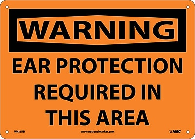 Warning, Ear Protection Required In This Area, 10X14, Rigid Plastic