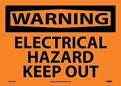 Warning, Electrical Hazard Keep Out, 10X14, Adhesive Vinyl