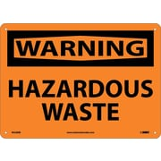 Warning, Hazardous Waste, 10X14, Rigid Plastic