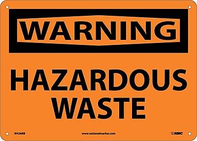 Warning, Hazardous Waste, 10X14, Rigid Plastic