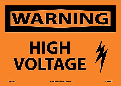 Warning, High Voltage, Graphic, 10X14, Adhesive Vinyl