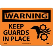 Warning, Keep Guards In Place, Graphic, 10X14, Rigid Plastic