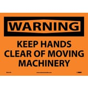 Warning, Keep Hands Clear Of Moving Machinery, 10X14, Adhesive Vinyl