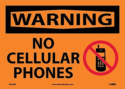 Warning, No Cellular Phones, Graphic, 10X14, Adhesive Vinyl