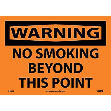 Warning, No Smoking Beyond This Point, 10X14, Adhesive Vinyl