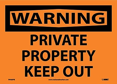 Warning, Private Property Keep Out, 10X14, Adhesive Vinyl