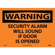 Warning, Security Alarm Will Sound If Door Is Opened, 10X14, Adhesive Vinyl
