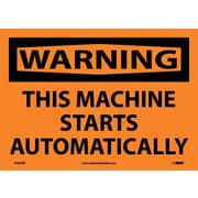 Warning, This Machine Starts Automatically, 10X14, Adhesive Vinyl