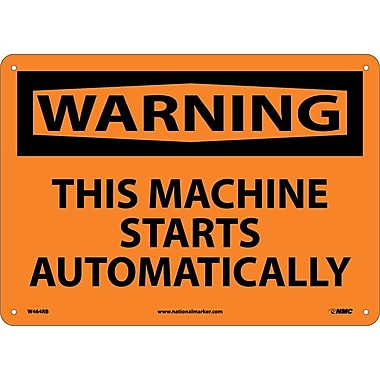 Warning, This Machine Starts Automatically, 10X14, Rigid Plastic