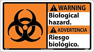 Warning, Biological Hazard/ (Bilingual W/Graphic), 10X18, Rigid Plastic