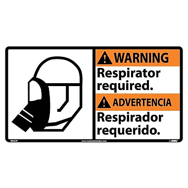 Warning, Respirator Required (Bilingual W/Graphic), 10X18, Adhesive Vinyl