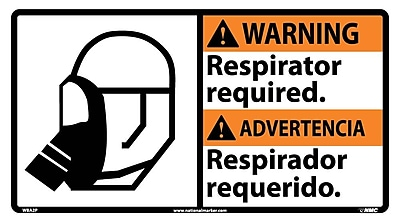 Warning, Respirator Required (Bilingual W/Graphic), 10X18, Adhesive Vinyl