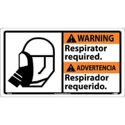 Warning, Respirator Required (Bilingual W/Graphic), 10X18, Rigid Plastic
