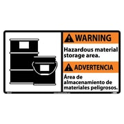 Warning, Hazardous Material (Bilingual W/Graphic), 10X18, Adhesive Vinyl
