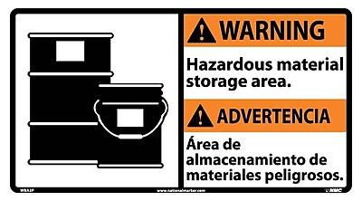 Warning, Hazardous Material (Bilingual W/Graphic), 10X18, Adhesive Vinyl