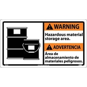 Warning, Hazardous Material (Bilingual W/Graphic), 10X18, Rigid Plastic