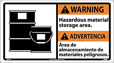 Warning, Hazardous Material (Bilingual W/Graphic), 10X18, Rigid Plastic