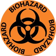 "Floor Sign, Walk On, Biohazard, 17"" Dia"
