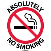 "Floor Sign, Walk On, Absolutely No Smoking, 17"" Dia"