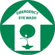 "Floor Sign, Walk On, Emergency Eye Wash, 17"" Dia"