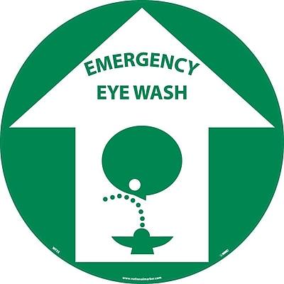 "Floor Sign, Walk On, Emergency Eye Wash, 17"" Dia"