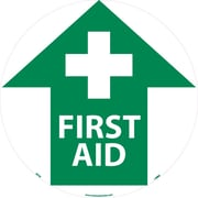 "Floor Sign, Walk On, First Aid, 17"" Dia"