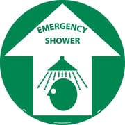 "Floor Sign, Walk On, Emergency Shower, 17"" Dia"