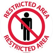 "Floor Sign, Walk On, Restricted Area, 17"" Dia"