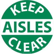 "Floor Sign, Walk On, Keep Aisles Clear, 17"" Dia"